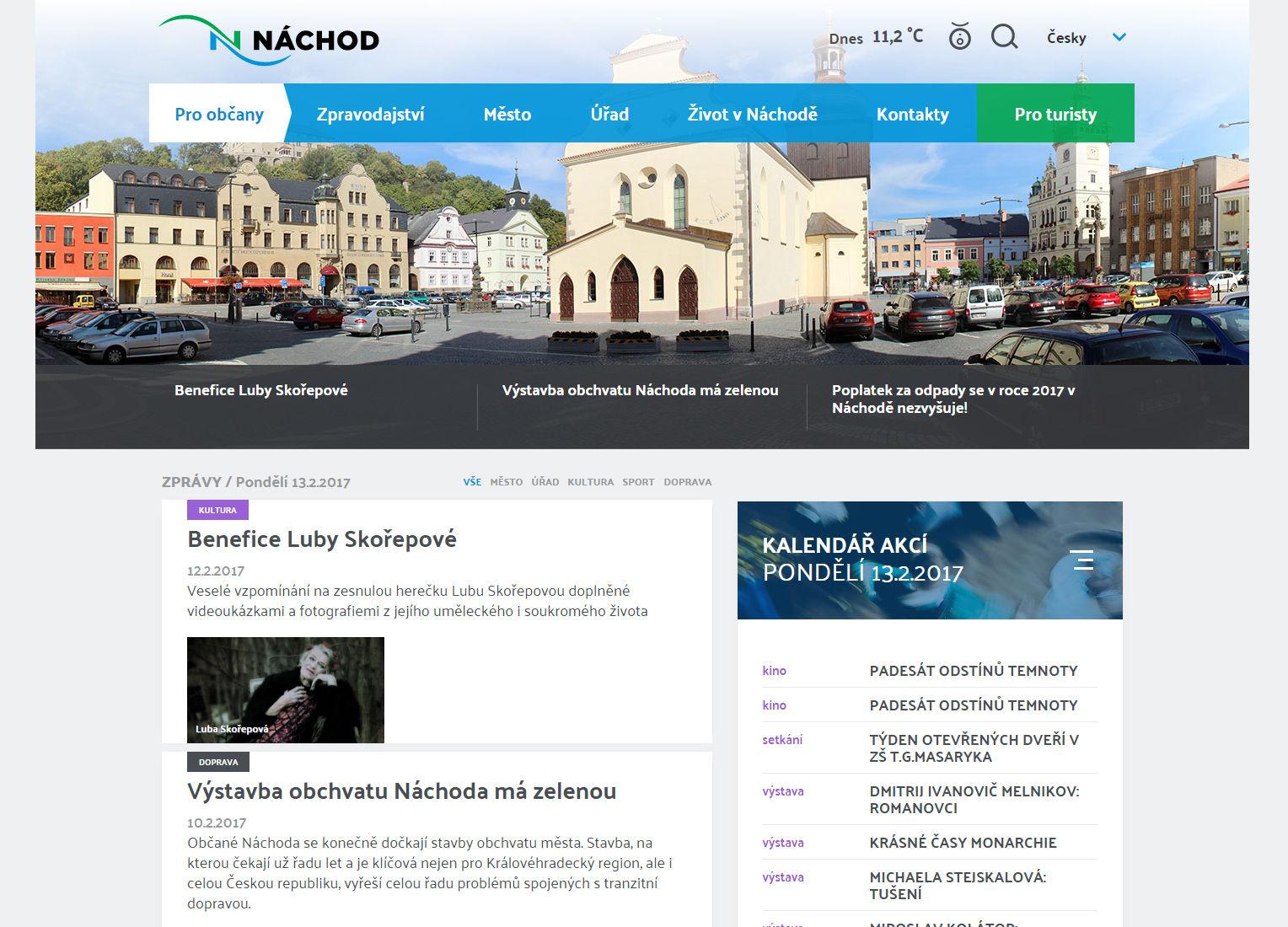 Město Náchod spustilo novou verzi webových stránek