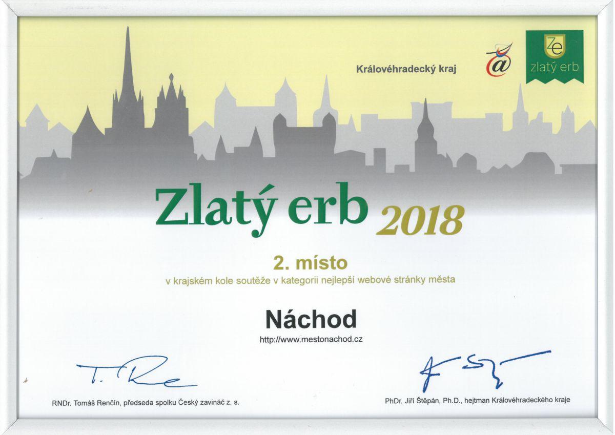 Město Náchod opět uspělo v soutěži Zlatý erb