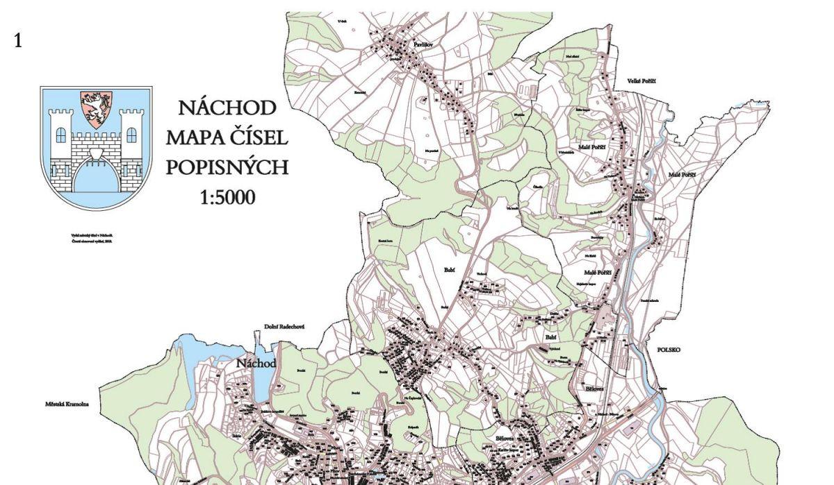 Nová mapa Náchoda s čísly popisnými