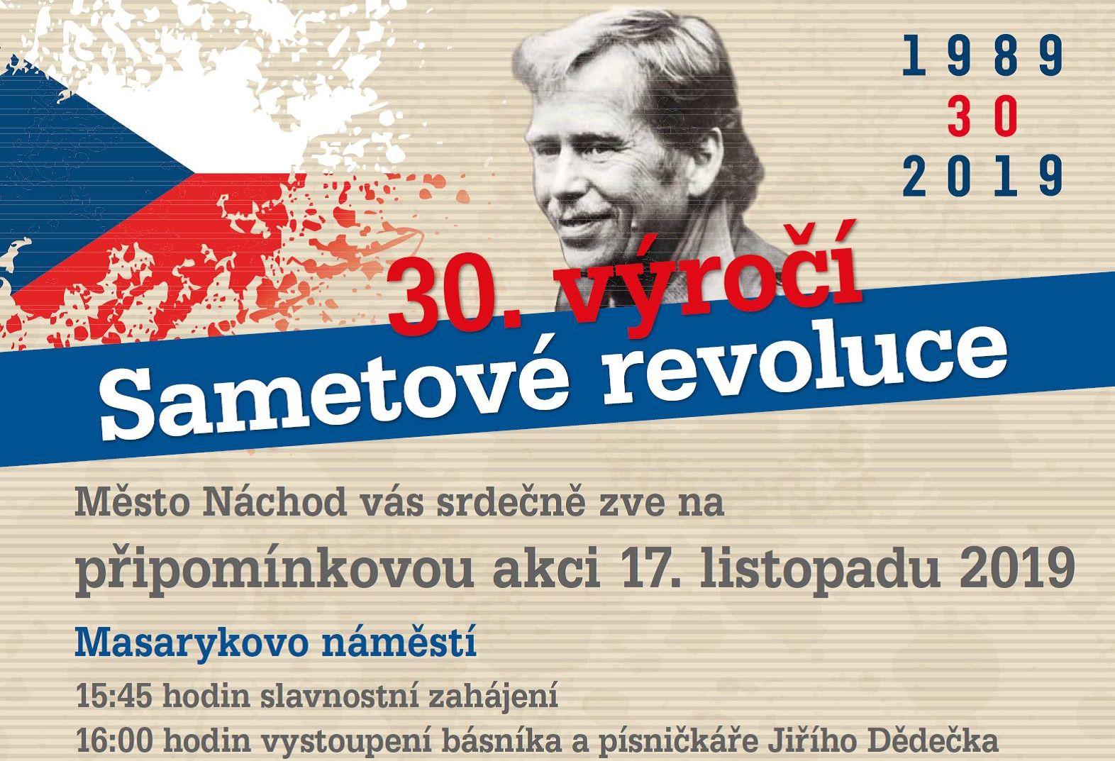 Připomínková akce k 30. výročí sametové revoluce v Náchodě