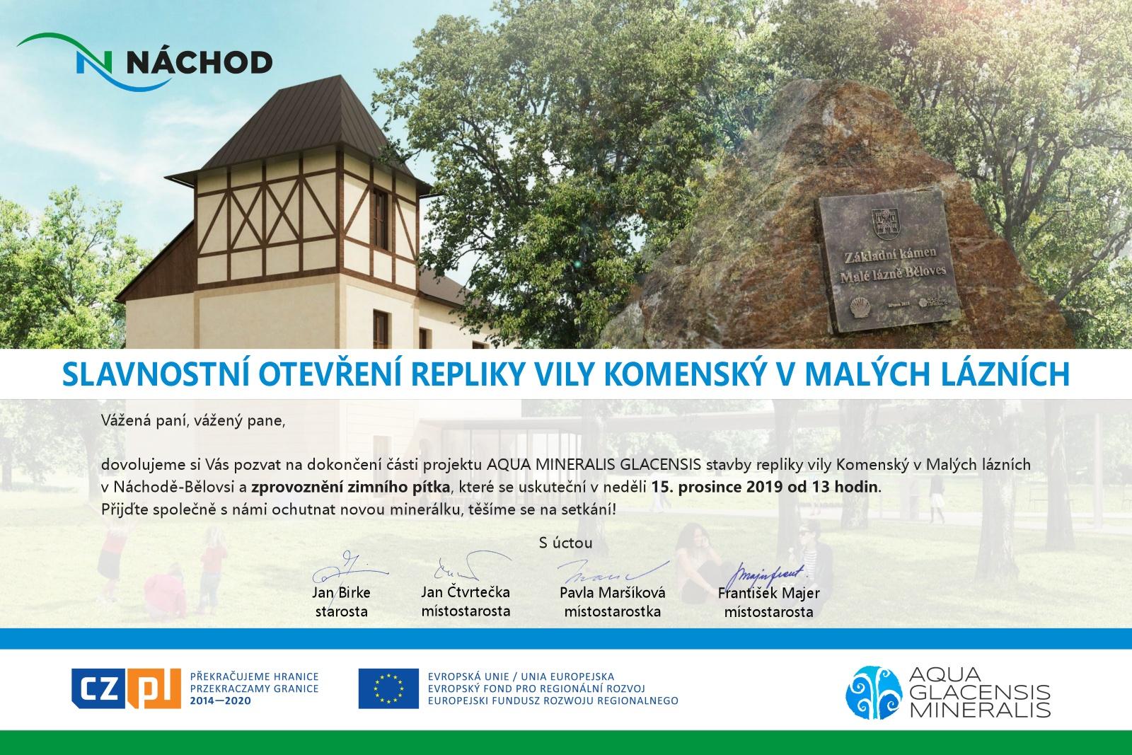 Slavnostní otevření repliky Vily Komenský vMalých lázních - neděle 15. 12. 2019