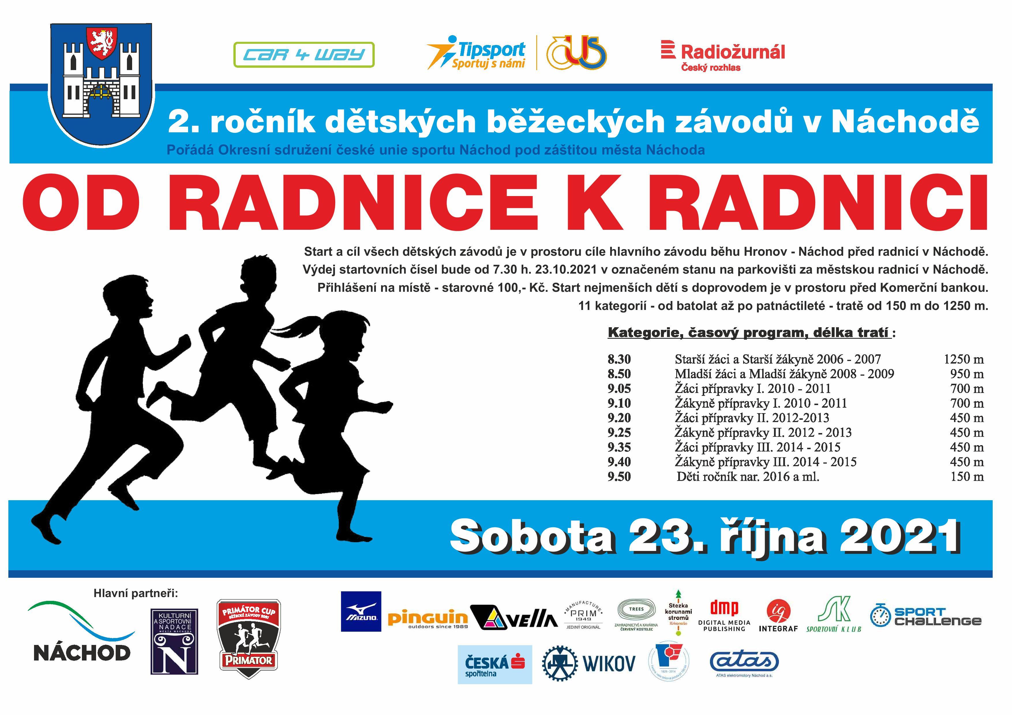 2. ročník dětského běžeckého závodu OD RADNICE K RADNICI
